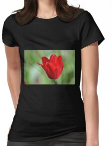 Backlit Red Tulip Womens Fitted T-Shirt