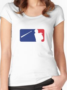 Jose Bautista bat flip MLB logo Women's Fitted Scoop T-Shirt