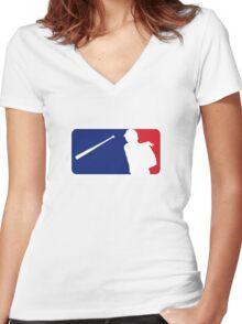 Jose Bautista bat flip MLB logo Women's Fitted V-Neck T-Shirt