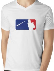 Jose Bautista bat flip MLB logo Mens V-Neck T-Shirt