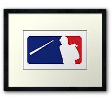 Jose Bautista bat flip MLB logo Framed Print
