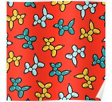 Balloon Animal Dogs Pattern in Red Poster