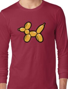 Balloon Animal Dogs Pattern in Red Long Sleeve T-Shirt