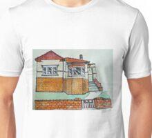 Art Deco house, Melbourne, Australia. © Pen and wash on fabric. Unisex T-Shirt