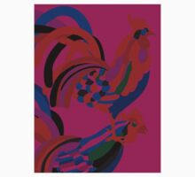 Abstract Rooster Art Throw Pillow in Hot Pink One Piece - Long Sleeve