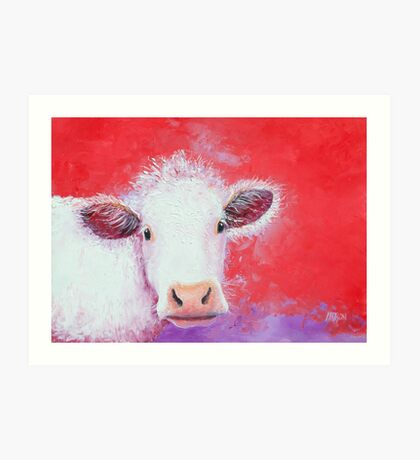White Cow painting on red background Art Print