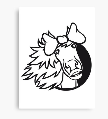 circle face girl head hole loop sweet funny woman female mare beautiful pony stallion riding white comic cartoon Canvas Print