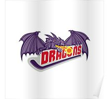 Dragon Fire Hockey Stick Retro Poster