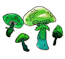 green and blue watercolor mushrooms Photographic Print