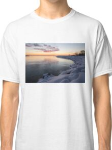Snowy Pink Dawn on the Lake Classic T-Shirt