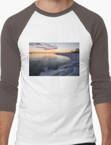 Snowy Pink Dawn on the Lake Men's Baseball ¾ T-Shirt