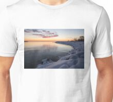 Snowy Pink Dawn on the Lake Unisex T-Shirt