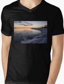 Snowy Pink Dawn on the Lake Mens V-Neck T-Shirt