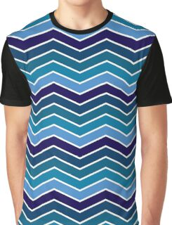 Blue Faded Chevron Graphic T-Shirt