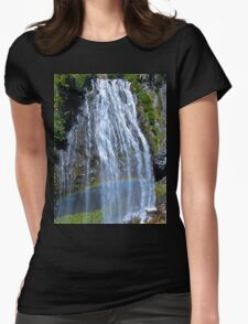Rainbow at Narada Falls, Mt. Rainier National Park Womens Fitted T-Shirt