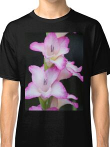 Pink Gladiola With Raindrops Classic T-Shirt