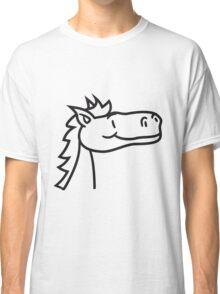 head, face, comic cartoon riding gallop pony horse funny sweet cute Classic T-Shirt