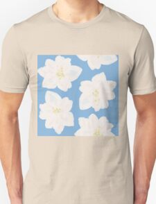 Watercolor Magnolias in Carolina Blue T-Shirt