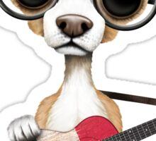 Cute Chihuahua Playing Mexican Flag Guitar Sticker