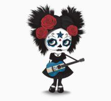 Sugar Skull Girl Playing Honduras Flag Guitar Kids Tee