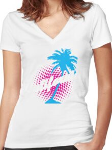 CALIFORNIA FUN IN SUN  Women's Fitted V-Neck T-Shirt