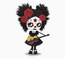 Sugar Skull Girl Playing Colombian Flag Guitar One Piece - Short Sleeve
