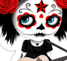 Sugar Skull Girl Playing South Korean Flag Guitar Sticker