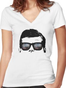 JFK Pop Art (Vector Variation) Women's Fitted V-Neck T-Shirt