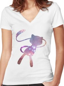 Galaxy Mew Women's Fitted V-Neck T-Shirt
