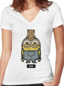 Minions Bob Women's Fitted V-Neck T-Shirt