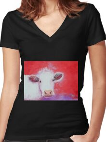 White Cow painting on red background Women's Fitted V-Neck T-Shirt