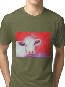 White Cow painting on red background Tri-blend T-Shirt