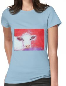 White Cow painting on red background Womens Fitted T-Shirt