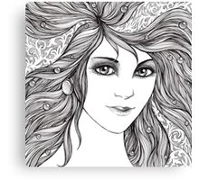 Face of a young woman, girl with fluttering hair Canvas Print