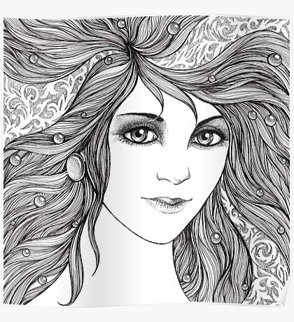 Face of a young woman, girl with fluttering hair Poster