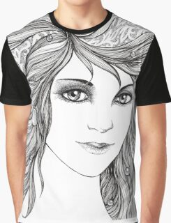 Face of a young woman, girl with fluttering hair Graphic T-Shirt