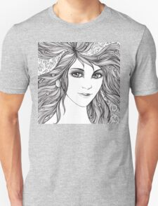 Face of a young woman, girl with fluttering hair Unisex T-Shirt