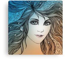 Face of a young woman, girl with fluttering hair (color) Canvas Print