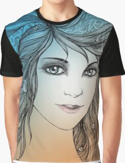 Face of a young woman, girl with fluttering hair (color) Graphic T-Shirt