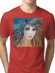 Face of a young woman, girl with fluttering hair (color) Tri-blend T-Shirt