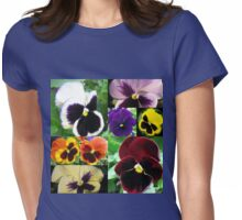 Just Pansies Collage Womens Fitted T-Shirt