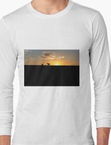 Silhouette of Kangaroos at  Sunset Long Sleeve T-Shirt