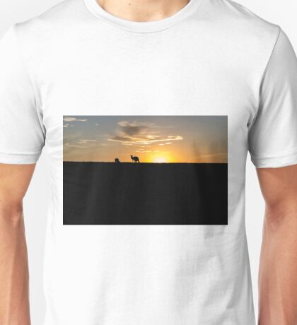 Silhouette of Kangaroos at  Sunset Unisex T-Shirt