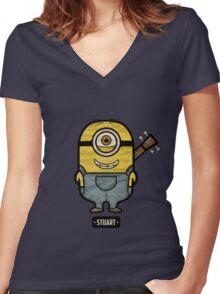 Minions Stuart Women's Fitted V-Neck T-Shirt