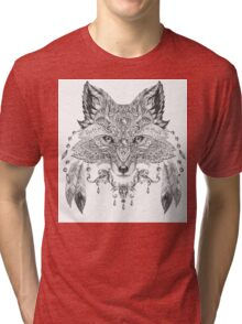 Portrait of a wild fox with ethnic ornaments Tri-blend T-Shirt