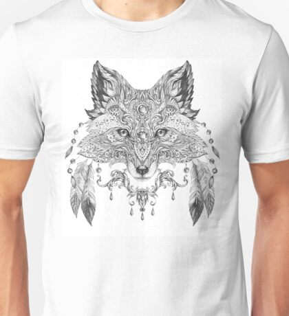 Portrait of a wild fox with ethnic ornaments Unisex T-Shirt