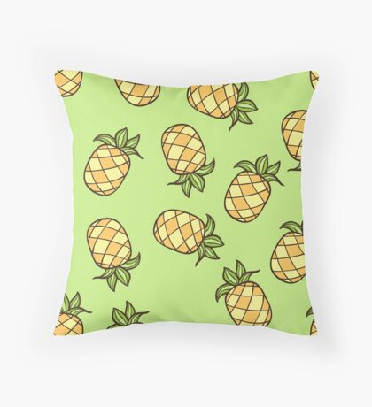 Summertime Pineapple Fruits Square Throw Pillow