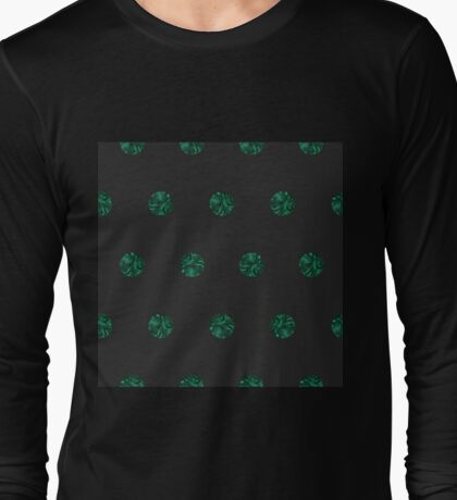 Malachite Polka Dots in Graphite Long Sleeve T-Shirt