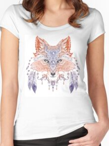Portrait of a wild fox with ethnic ornaments (color) Women's Fitted Scoop T-Shirt