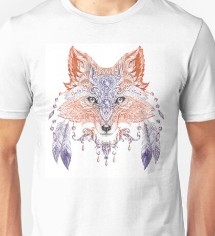 Portrait of a wild fox with ethnic ornaments (color) Unisex T-Shirt